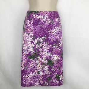 J.Crew Purple Flowered Pencil Skirt